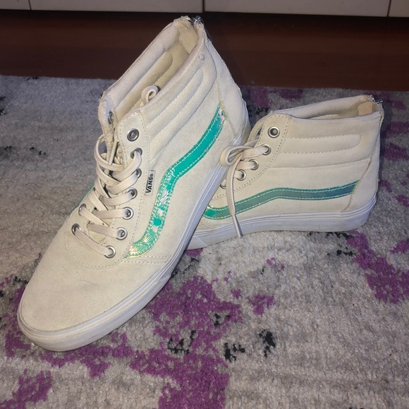 Vans Shoes   High Top Cream Colored